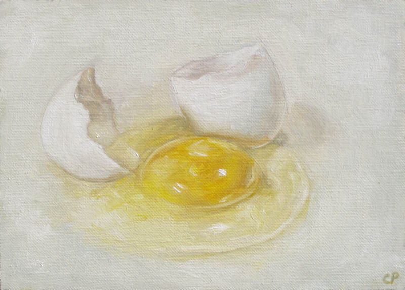 Cracked Egg 5x7 oil painting
